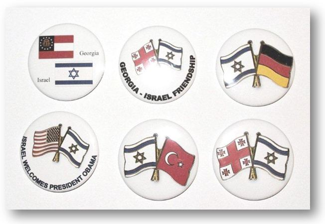 Button pins with 2 flags