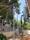 תורן אלומיניום קוני בגובה 6 מטר התקנה שגרירות צ'כיה עם דגל 1.5*1 מטר