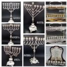A variety of designed menorahs
