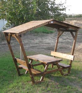 """שולחן קק""""ל ופרגולה עצים 4*15"""