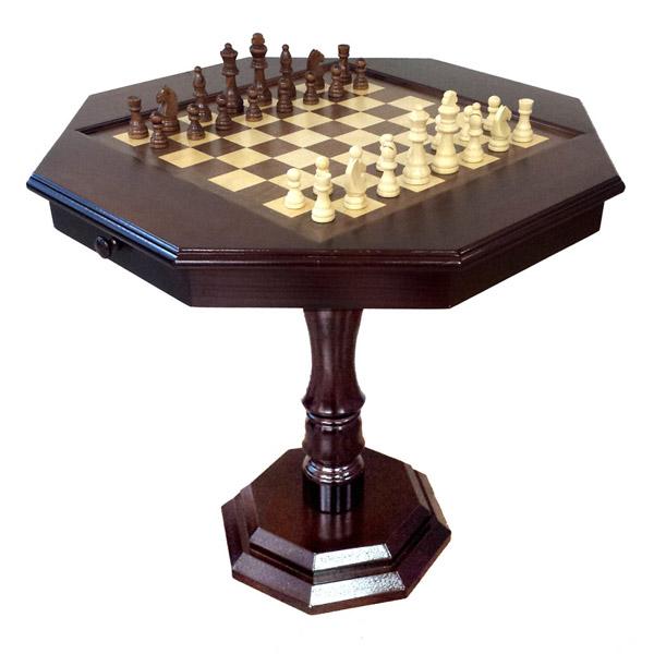 שולחן עץ שחמט מהודר עם מגירות