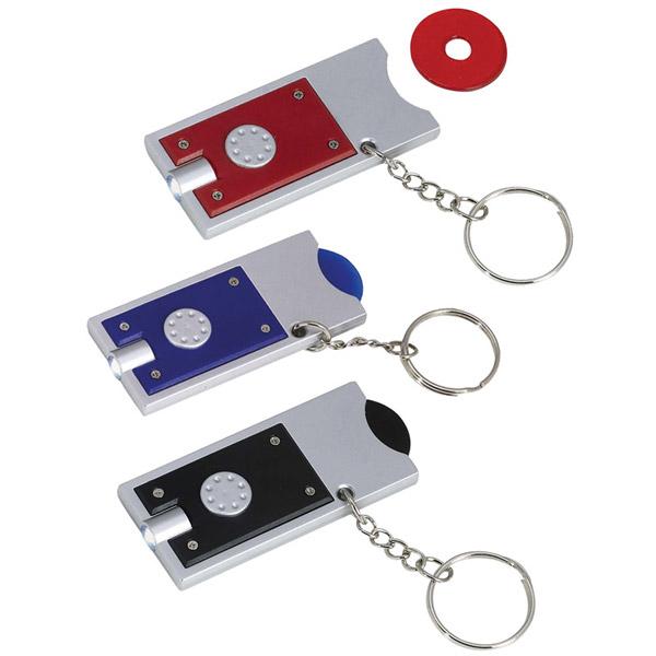 מחזיק מפתחות לד עם מטבע פלסטיק לעגלות