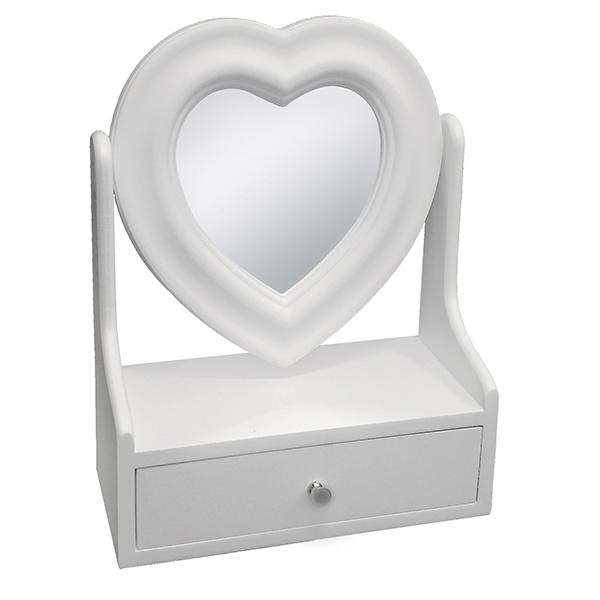 ארונית תכשיטים עם מראה בצורת לב