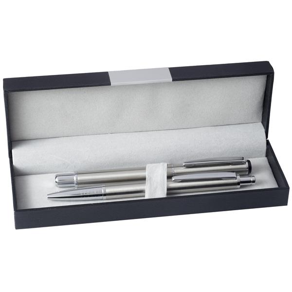 """סט עט כדורי + עט רולר """"מטליקו"""" STAINLESS STEEL כולל קופסא"""