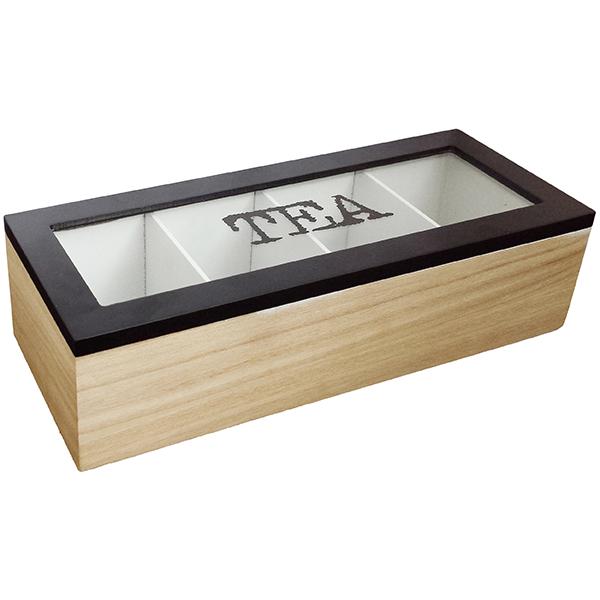 קופסת עץ לתה- מחולקת לארבע