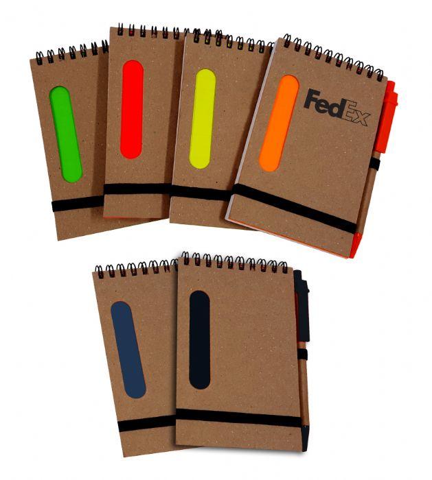 פנקס A6 עם פס צבעוני + עט