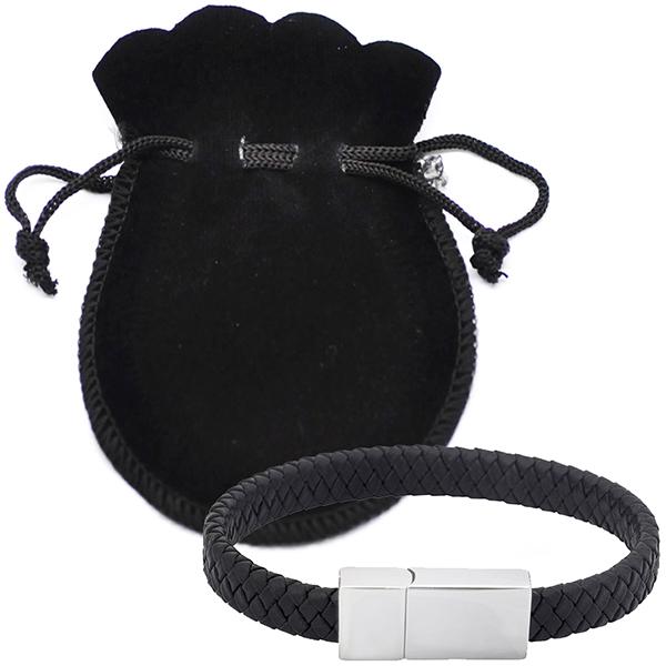 צמיד דיסק און קי מעור בעיצוב צמה שחורה בנרתיק לבד שחור