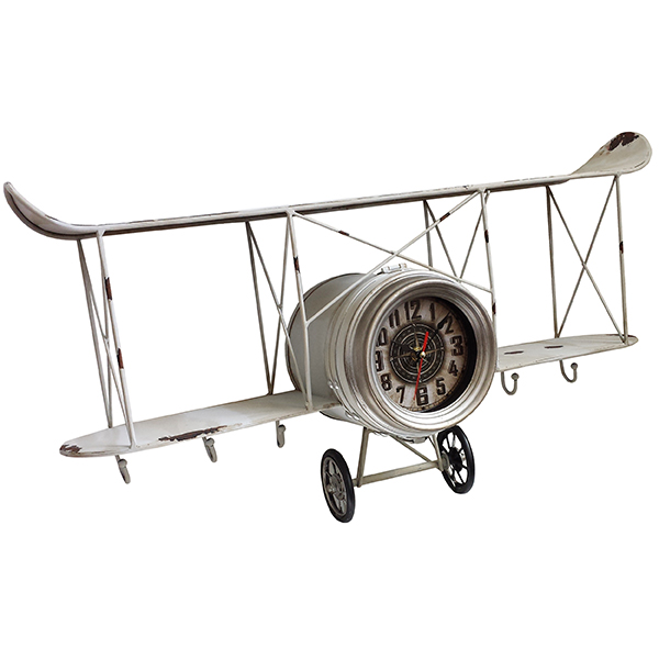 """""""פייפר"""" שעון קיר עתיק דגם אווירון דו כנפי"""