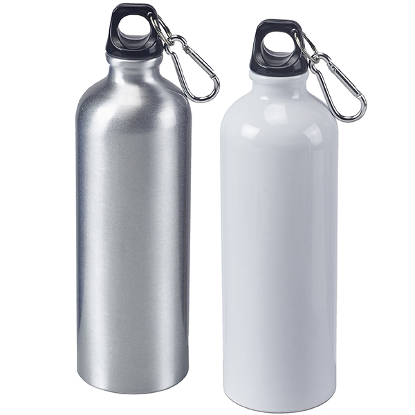בקבוק ספורט עשוי אלומיניום כסוף עם מכסה אחיזה ותופסן
