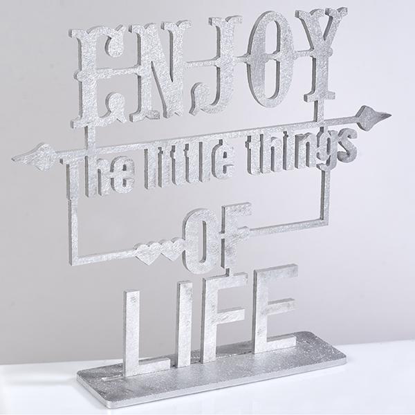 """""""Enjoy the little"""" שלט אלומיניום אומנותי מעוצב"""