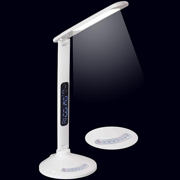 מנורת שולחן לד חזקה מופעלת במגע עם שקע לטעינת לניידים