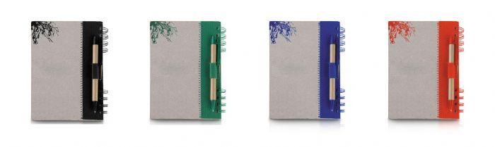 מחברת מנייר ממוחזר עם עט ממוחזר
