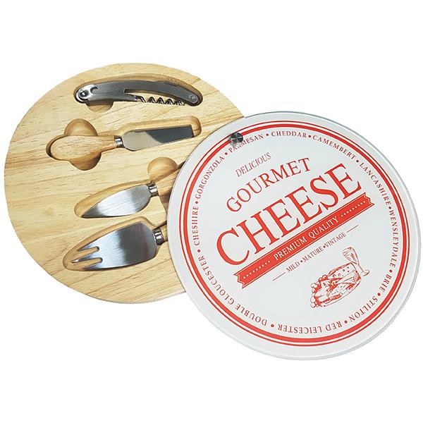 סט יוקרתי לחיתוך והגשת גבינות ויין  במארז עץ ומגש זכוכית מעוטרת