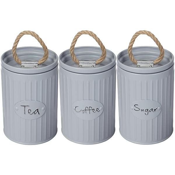 סט ´קפה, תה סוכר´ 3 קופסאות מתכת מתכתיות עם ידית חבל