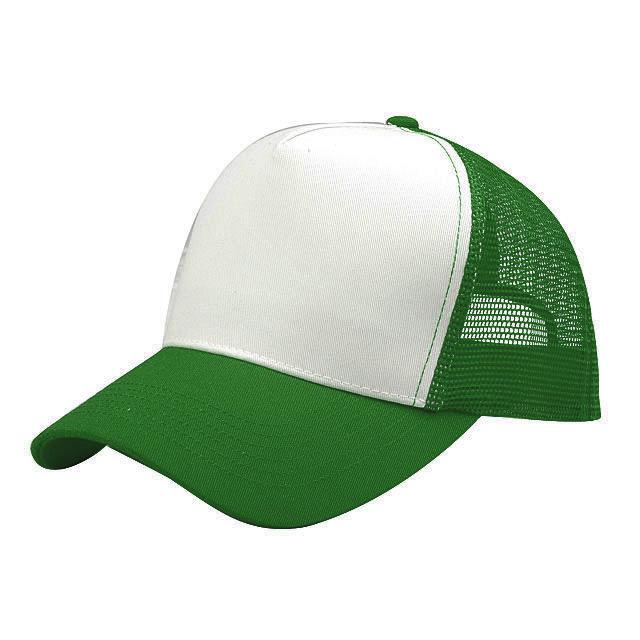 כובע רשת 5 פנלים בשילוב לבן עם סגר פלסטי