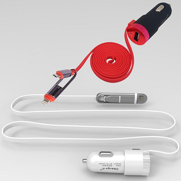 מטען USB לרכב 2.4A עם כבל מובנה 2 ב-1 באורך 1.2 מ´