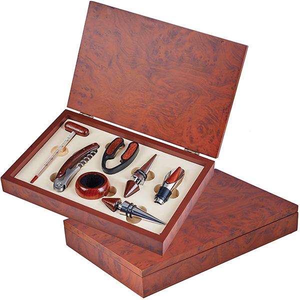 מארז יין 7 חלקים בקופסת עץ מהגוני