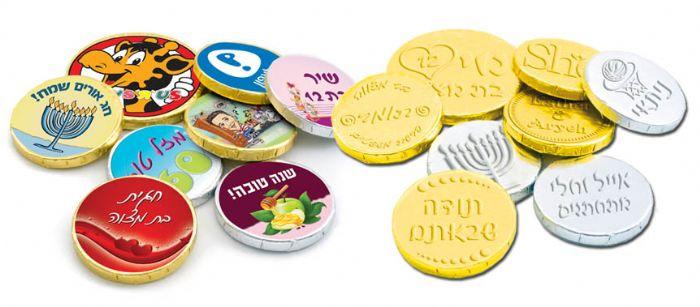 מטבע שוקולד עם הטבעת לוגו