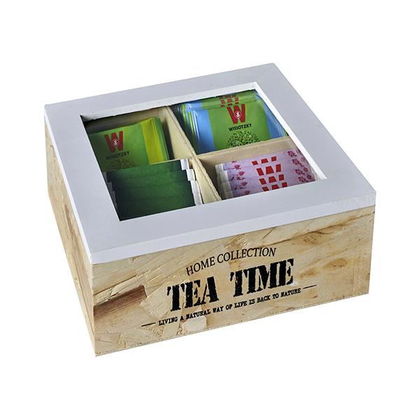 """TEA TIME"" מארז עץ טבעי לתה, 4 תאים"