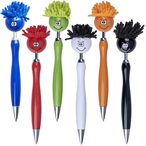 """""""הראש המסתובב"""" עט פלסטיק קומי עם שיער לניקוי מסכי מגע"""