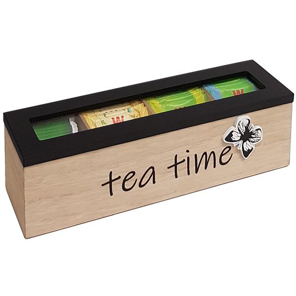 """TEA TIME"" מארז עץ לתה 4 תאים"