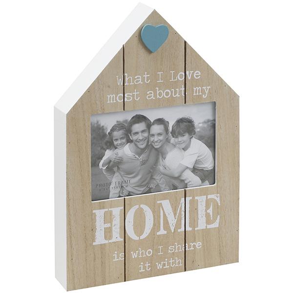 מסגרת תמונה מעץ בצורת בית עם כיתוב HOME