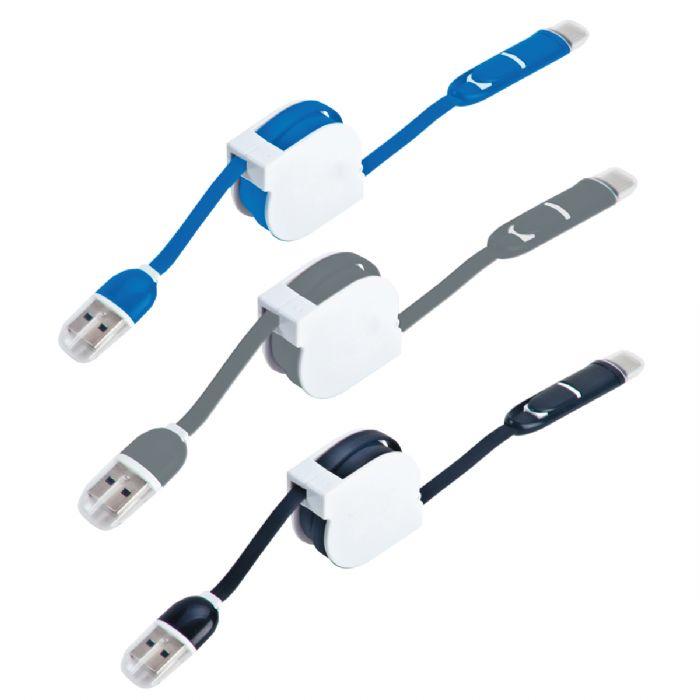 כבל USB מתקפל, 3 מתאמים – סמארט