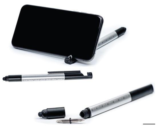 עט אורגנייזר עם סט מברגים, סרגל ומעמד לנייד