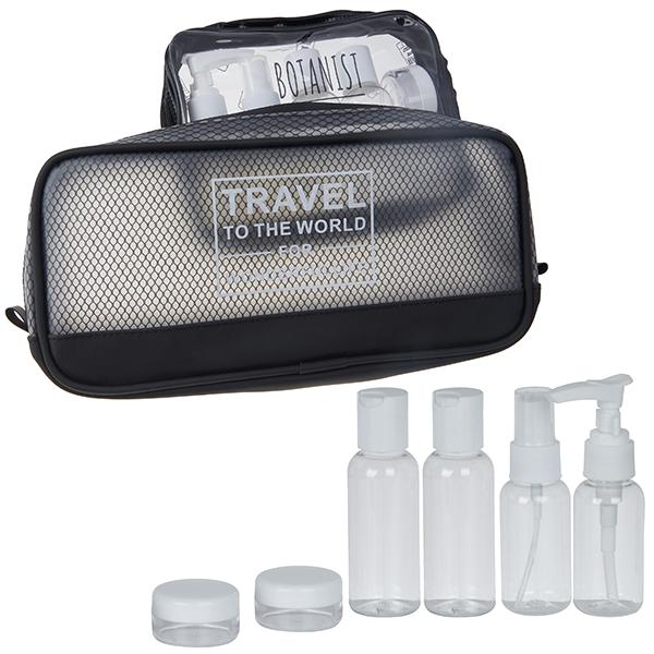 """""""TRAVEL"""" ערכת בקבוקי אחסון לנסיעות משולב עם תיק כלי רחצה"""