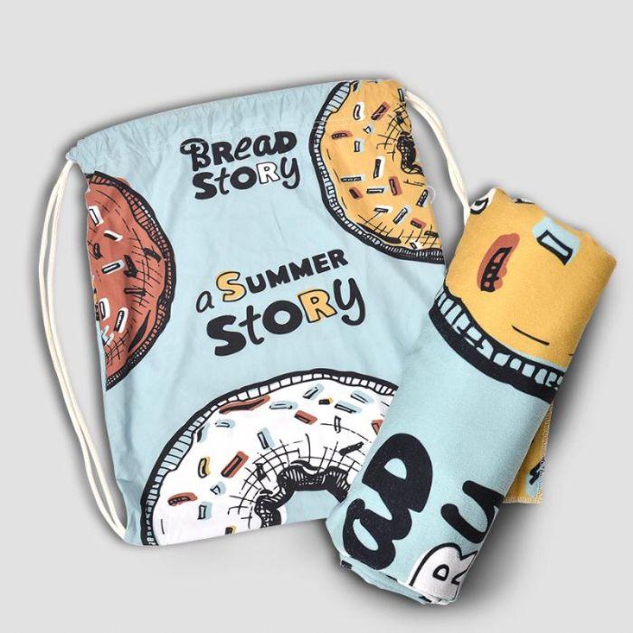 סט מגבת חוף בשילוב תיק שרוכים תואם