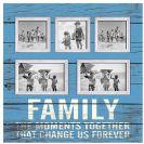 מסגרת עץ תכלת משולבת ל 5 תמונות FAMILY