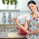 סט למטבח ייצור כחול לבן! סינר, ראנר מעוצב לשולחן וזוג מגבות מטבח