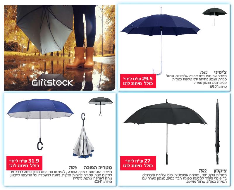 מטריות ממותגות - מבצעי מתנות לחורף חם 2018