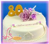 עוגת יום הולדת לסבתוש עם ורדים מתוקים במיוחד, מפוסלים מסוכר