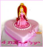 הנסיכה אורורה מככבת בכס מלכות מהודר בעוגה זו