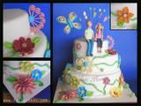 עוגת חתונה - שלוש קומות עם פרחי סוכר אילן ושריי- Quilling appliques in wedding cake