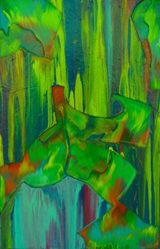 """אדוארד אלמשי, צבע משי על כפה, 46 על 30 ס""""מ"""