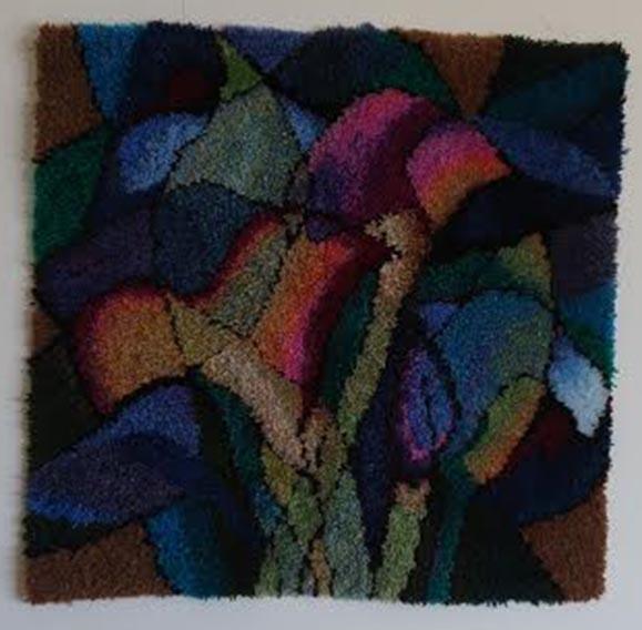"""חנה רוזנמן, שטיח קיר - צמר בקשירת וו, 92 על 92 ס""""מ"""