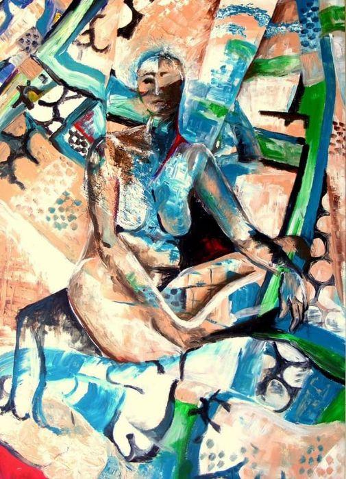 """רוז בר-נור, אקריליק על נייר המודבק על קרטון, 100 על 70 ס""""מ, חתום ומתוארך 1996"""