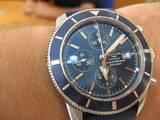 """ברייטלינג SuperOcean Heritage Chronograph  מנגנון מכני אוטומטי קליבר 13 קוטר השעון 46 מ""""מ פנל כחול ,רצועת גומי חדשה דגם 2008 עם סוגר פטנט - מדידות בחנות ירמיהו 6 ת""""א 03-5461547"""