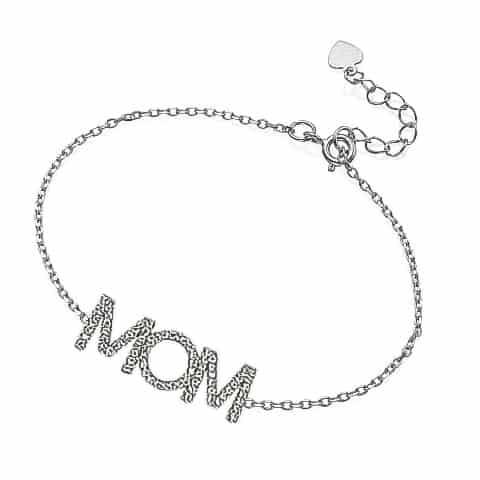 """צמיד כסף """"MOM"""""""