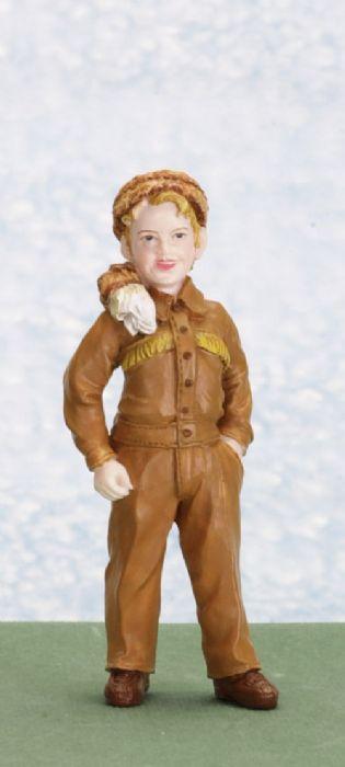 פסלון מיניאטורי של ילד עם בגד עור חום