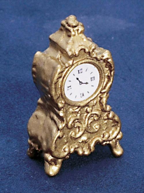 שעון שולחני מיניאטורי בעיצוב פליז עתיק