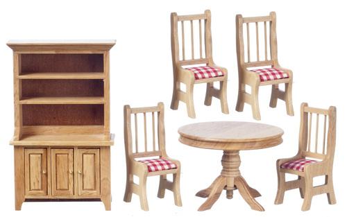 סט כפרי - שולחן עגול מיניאטורי + כיסאות + ארונית