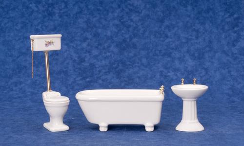 אמבטיה שירותים וכיור מיניאטוריים בעיצוב רטרו