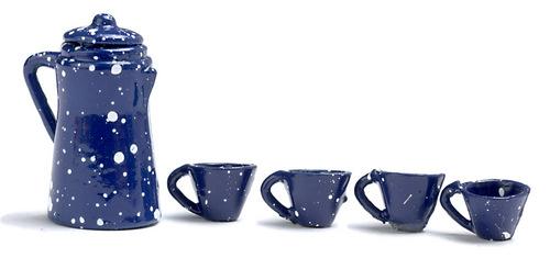 סט קפה כחול מיניאטורי עם נקודות לבנות