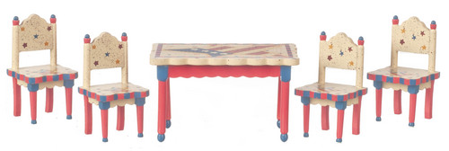 שולחן וכיסאות מיניאטוריים - כוכבים תכלת וורוד