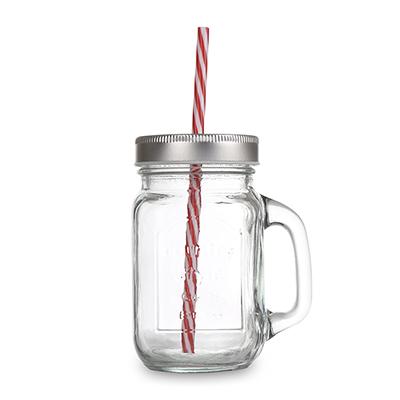 כוס זכוכית עם קש