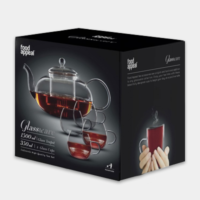 קומקום תה ורביעיית כוסות זכוכית
