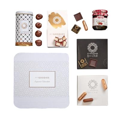 מארז שוקולדים בקופסה לבנה